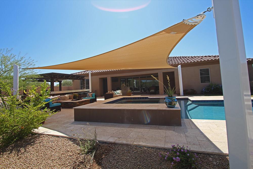 shade sail awning pool
